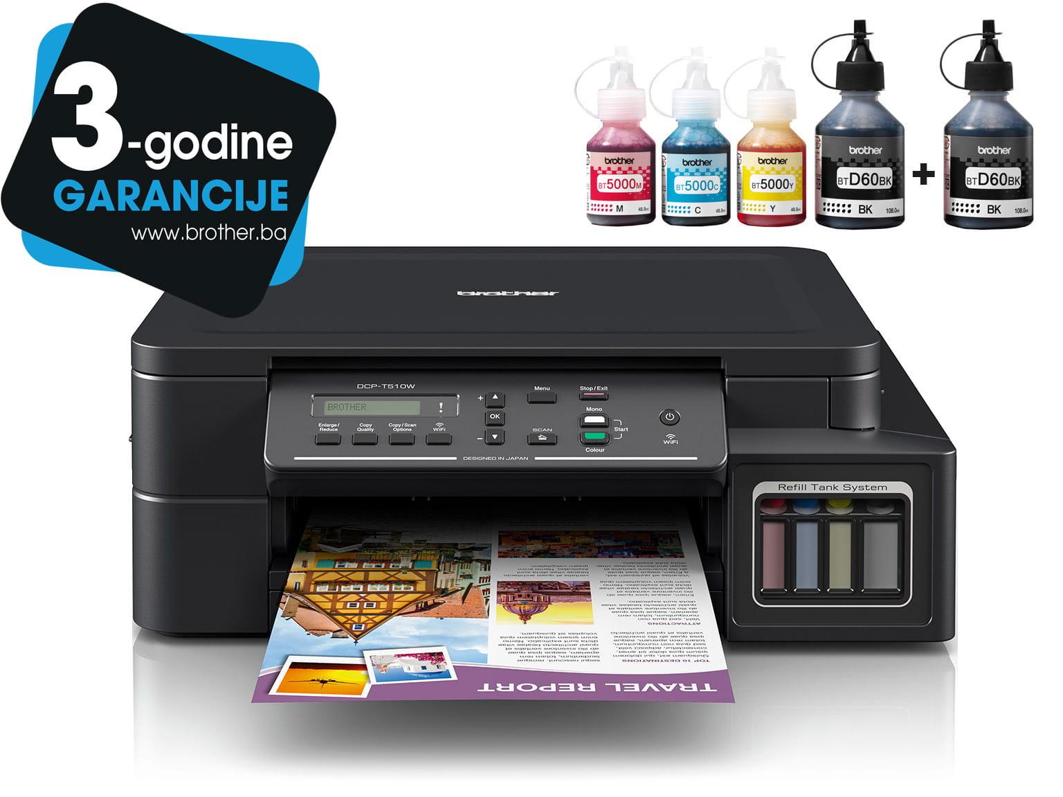 DCP-T510W InkBenefit Plus tintni višenamjenski uređaj Brother s logotipom 3 godine jamstva i bočicama tinte