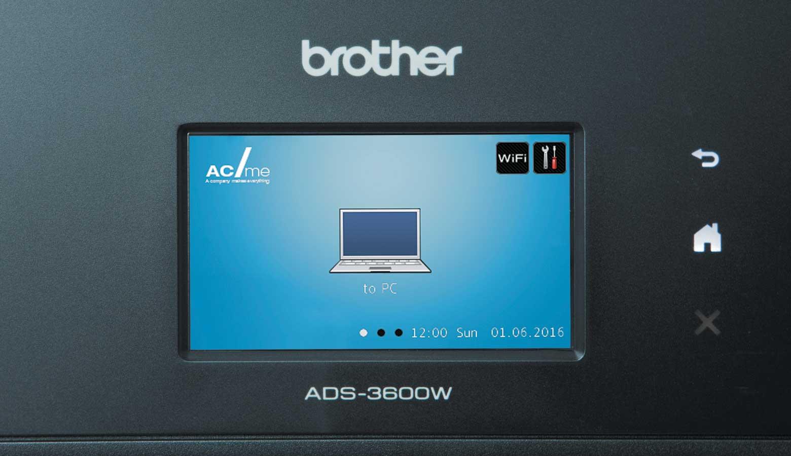 Dodirni zaslon s plavom pozadinom i prijenosnim računalom